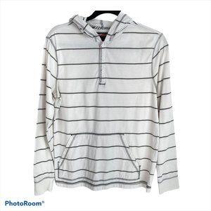 Tony Hawks Gray White Striped Hoodie Sweatshirt S